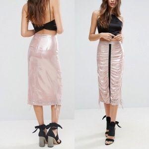 ASOS Pink Metallic Midi Skirt Channel Pencil Cinch
